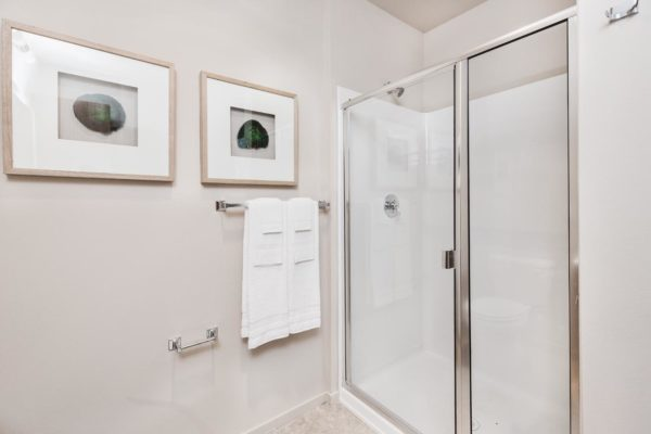Glass enclosed shower at our Fremont Seattle apartments