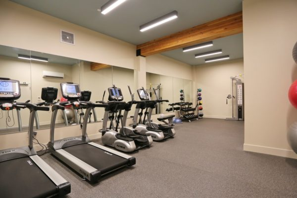 Treadmills, elliptical machines and free weights in The Hayes on Stone Way fitness center