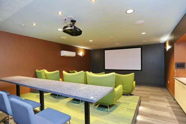 Media room at our apartment in Fremont Seattle, WA with a large screen projector