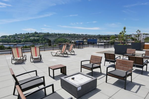 Rooftop deck at our Fremont Seattle apartments